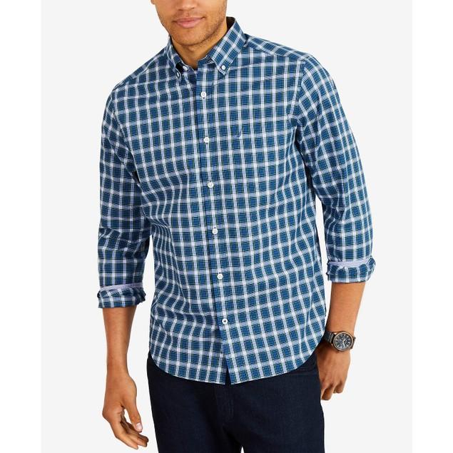 Nautica Men's Classic Fit Plaid Button-Down Shirt Navy Size XXX Large