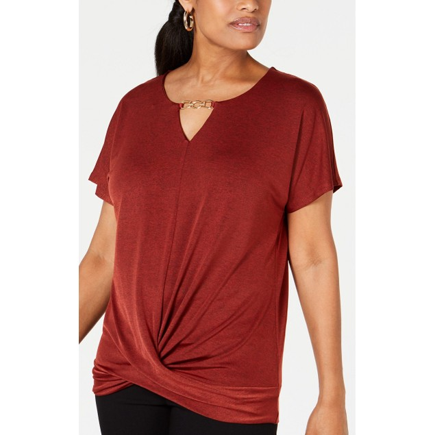 JM Collection Women's  Twist-Front Rusty Top Red Size Medium