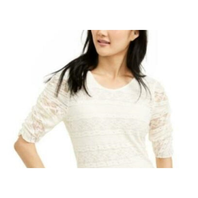 American Rag Juniors' Tie-Back Lace Blouse White Size Medium