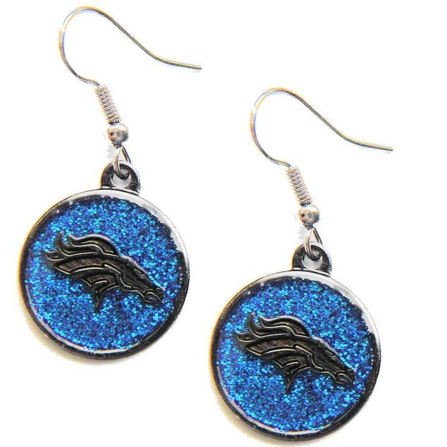 Denver Broncos Glitter Sparkle Dangle Logo Earring Set Charm Gift