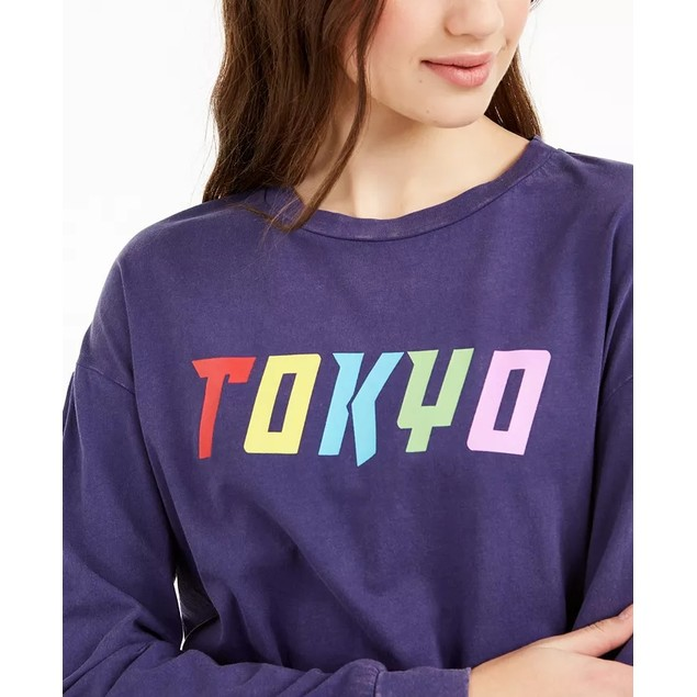 Rebellious One Juniors' Tokyo Graphic T-Shirt Blue Size Small