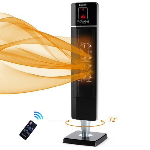 Costway 1500W Portable Oscillating Ceramic Tower Heater w/ Timer Remote Con