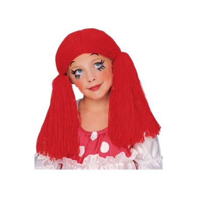 Rag Doll Girl Child Red Wig Raggedy Ann Pigtails Costume Clown Kids Girls