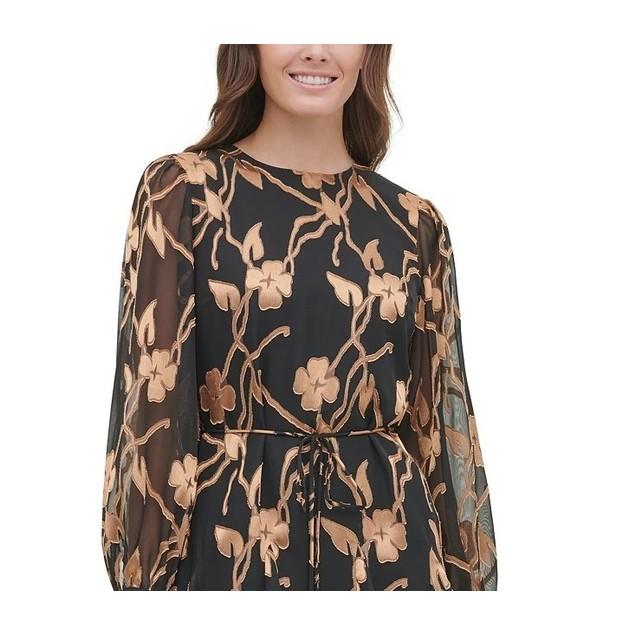 Tommy Hilfiger Women's Petite Chiffon Burnout Trapeze Dress Gold Size 6P