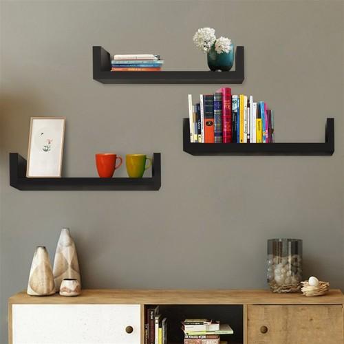 Black Set of 3 Floating Display Shelves Ledge Bookshelf Wall Mount Storage Home Décor