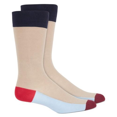 Alfani Men's Colorblocked Stripe Socks Lt Beige Size Regular