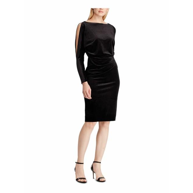 Lauren Ralph Lauren Women's Velvet Slit-Sleeve Dress Black Size 4