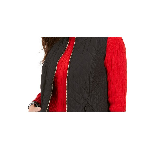 Charter Club Women's Zip-Front Quilted Cotton Vest Black Size Petite Small