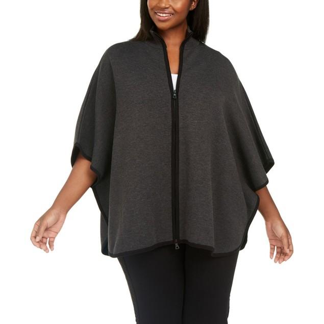 Anne Klein Women's Plus Size Zip-Up Poncho Sweater Dark Gray Size 1X