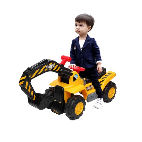 Children's Excavator Toy Car Without Power Two Plastic Artificial Stones, A Hat
