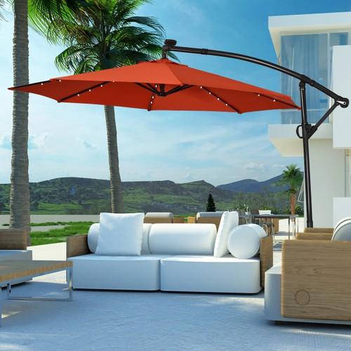 Costway 10FT Patio Offset Umbrella Solar LED 360degrees Rotation Orange