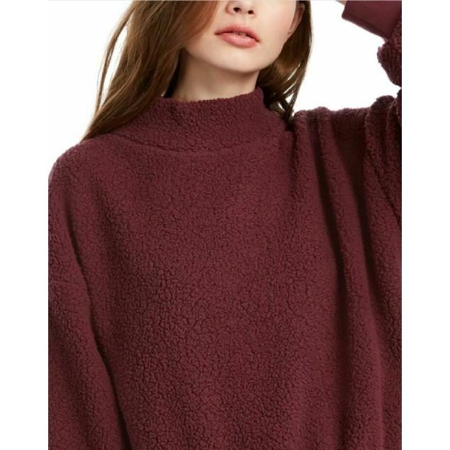 Hippie Rose Juniors' Mock-Neck Sherpa Pullover Purple Size Large