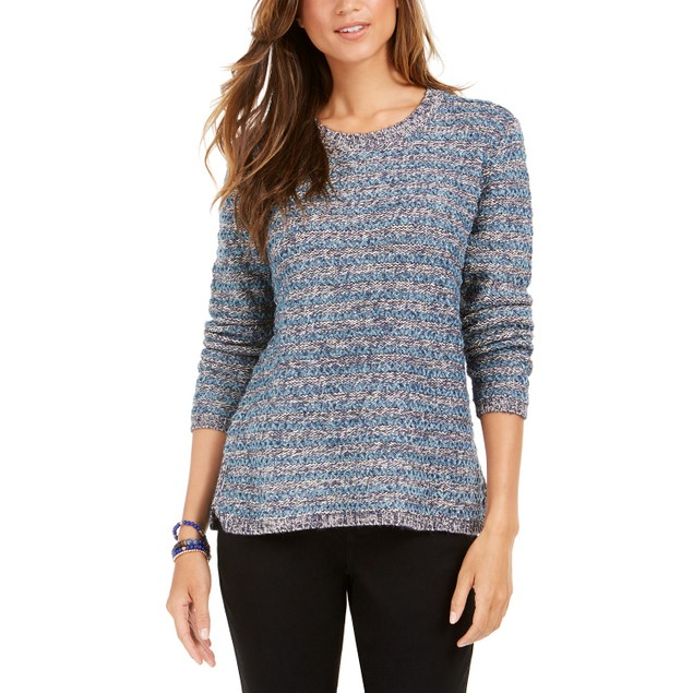 Style & Co Women's Striped Sweater Navy Size XX-Large