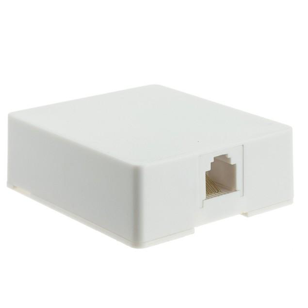 Phone Surface Mount Jack, RJ11 / RJ12, Data / Voice, (6 Pin 6 Conductor)