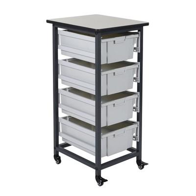 "Luxor 37.5"" Mobile Bin Storage Unit - Single Row with 4 Large Bins"