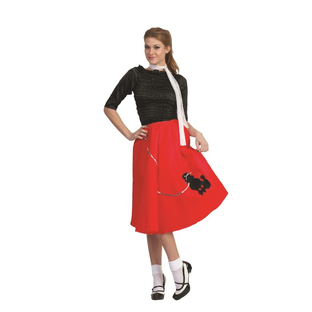 Red Poodle Skirt 50's Scarf Sock Hop 1950's Retro Grease Sandra Dee Adult