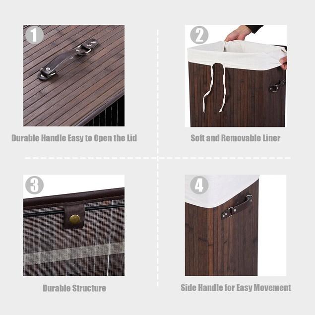 Costway Rectangle Bamboo Hamper Laundry Basket Washing Cloth Bin Rangier Li