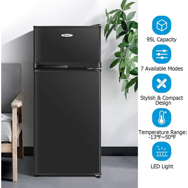 Costway 2 Doors 3.4 cu ft. Unit Stainless Steel Compact Mini Refrigerator F