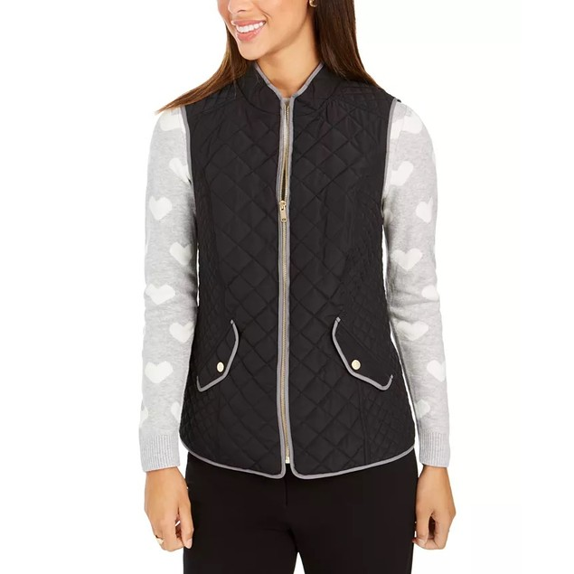 Charter Club Women's Quilted Stand-Collar Vest Black Size Extra Small