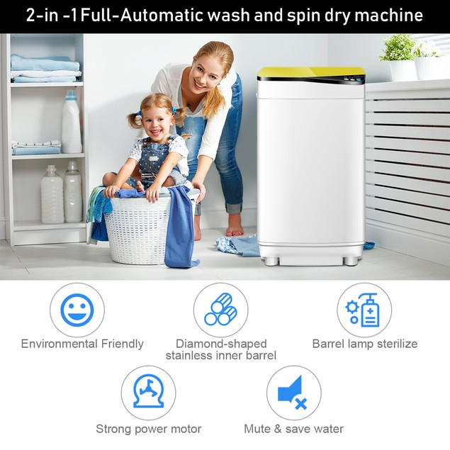 Full-Automatic Washing Machine 7.7 lbs Washer/Spinner Germicidal UV Light Y