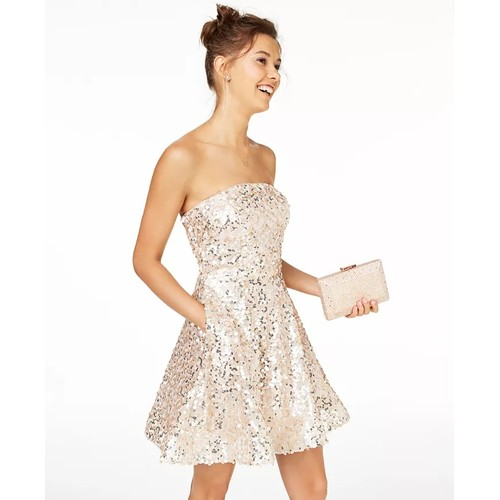 Crystal Doll Junior's Sequined Strapless Dress White Size 7