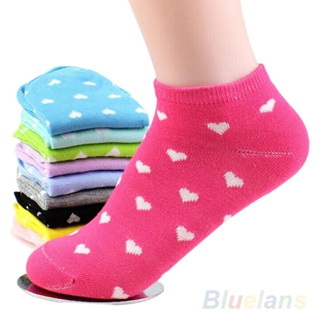 5 Pairs Womens Girls Cute Heart Cotton Socks