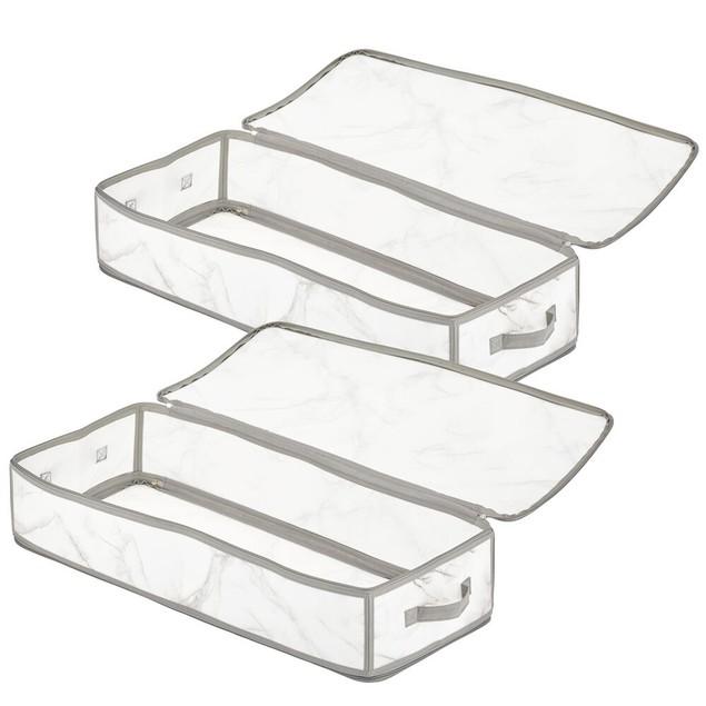 mDesign Plastic Closet Storage Organizer Zipper Bag, 2 Pack - Marble