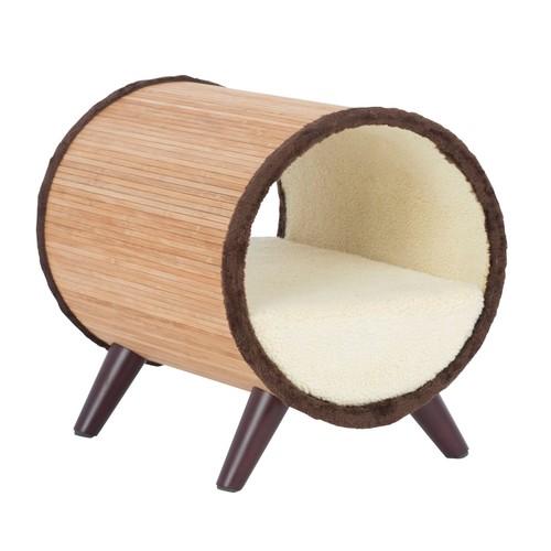 Paws & Purrs Tubular Pet Bed - Bamboo/Vanilla