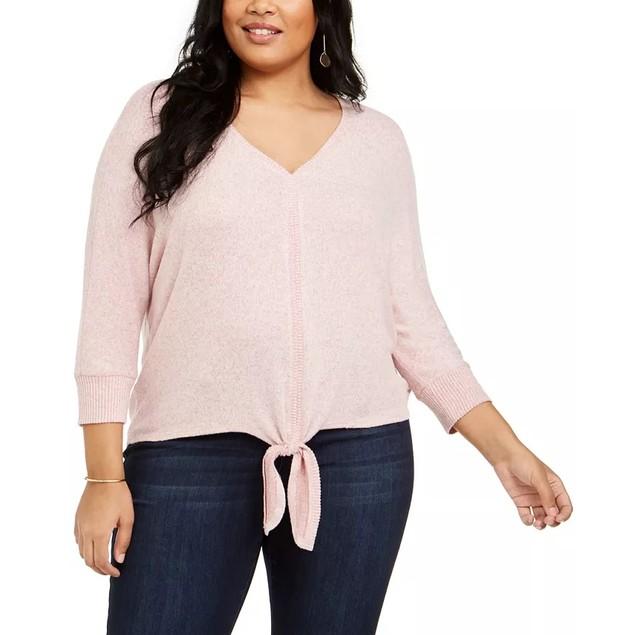 Style & Co Women's Tie Hem Sweater Medium Pink Size 1X