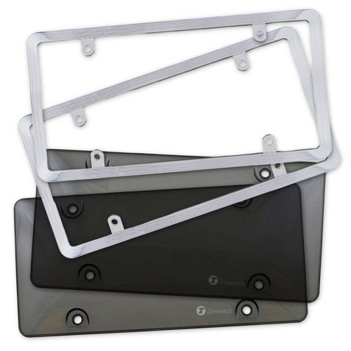 Zone Tech 2x Bubble Tinted License Plate Tag Shield Cover Chrome Frame