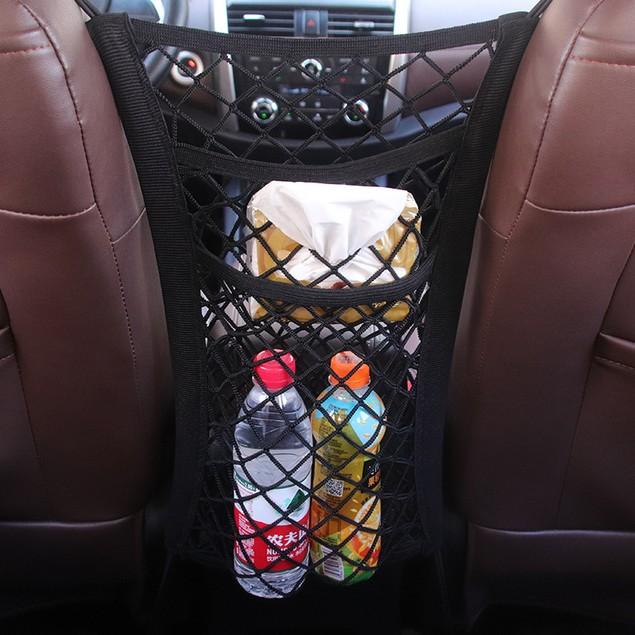 Four-sided Stretch Car Seat Storage Net Pocket Universal Double-layer Storage Net Storage Bag