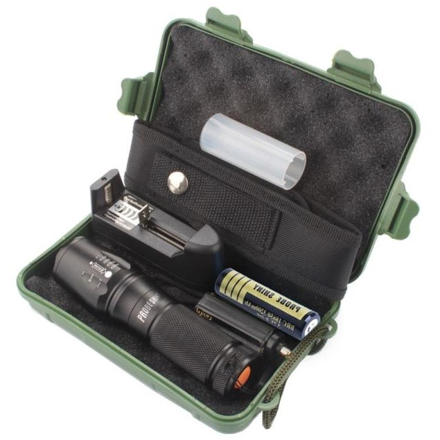 X800 Zoomable XML T6 LED Flashlight + Battery+Charger+ Case