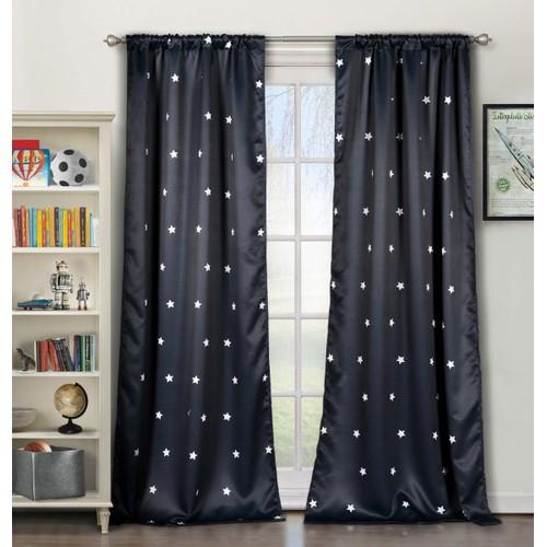 Stars Print Blackout Window Curtain Pair Panel - Set of 2