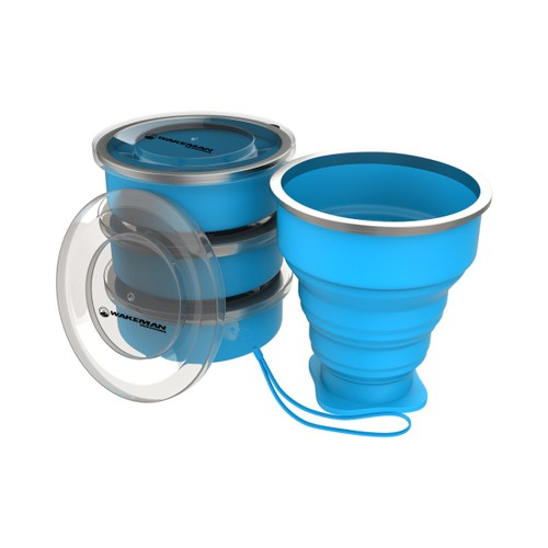 Collapsible Travel Cups- BPA Free, FDA Approved Reusable 6 Oz Drink Cups for Camping, Fishing, Picnics, More by Wakeman Outdoors (4 Pack, Blue)