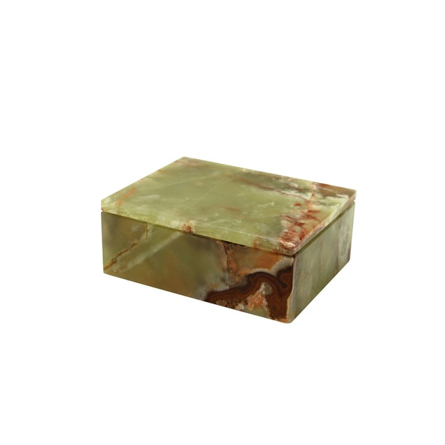 """Asteria Collection Marble 5"""" Whirl Green Onyx Polished Vintage Finish Box"""