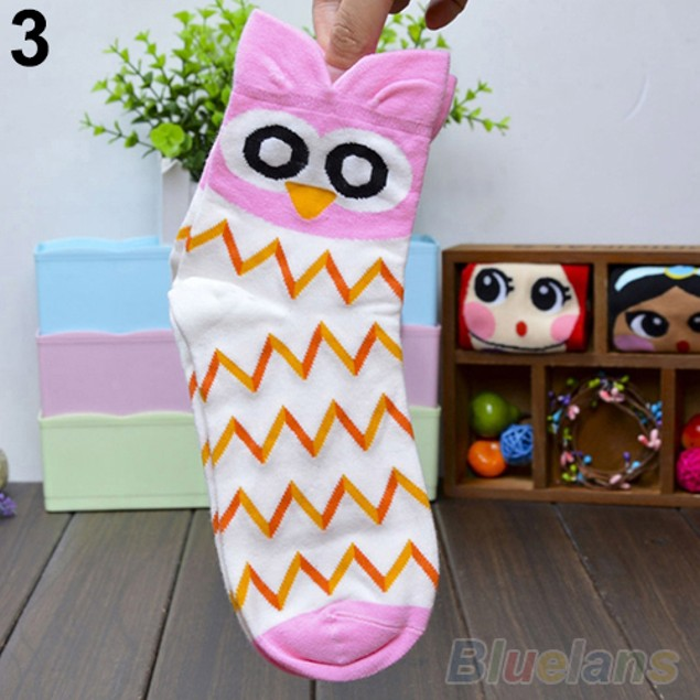 Fashion Women's Cartoon Soft Owl Print Cotton Socks