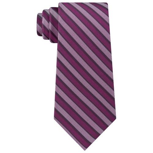 Calvin Klein Men's Classic Stripe Silk Tie Dark Red Size Regular