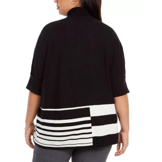 Alfani Women's Plus Colorblocked Turtleneck Poncho Black Size 1X