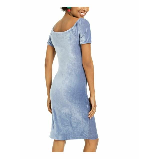 Ultra Flirt Juniors' Corduroy Ruched Bodycon Dress Blue Size XX-Small