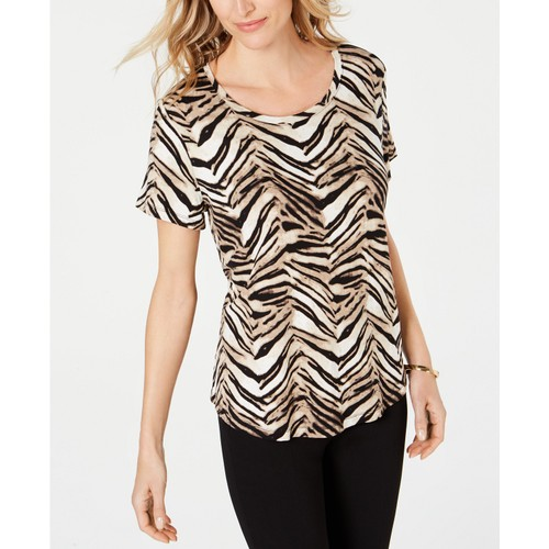 JM Collection Women's Printed Scoop-Neck Top Brown Size Small