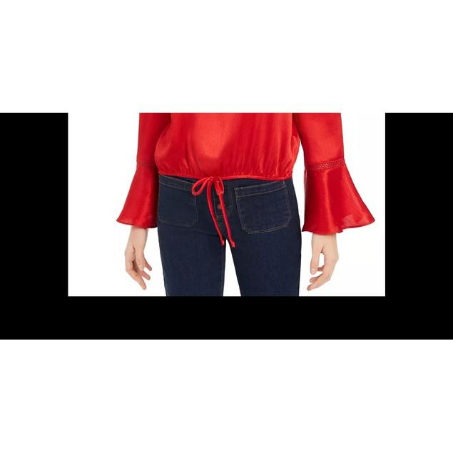 BCX Junior's Ruffled Tie Hem Top Red Size Large