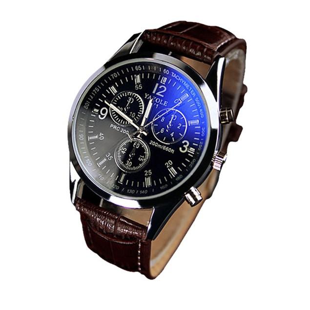 Luxury Fashion Faux Leather Mens Glass Quartz Analog Watch