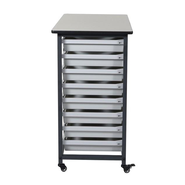 "Luxor 37.5"" Double Row Mobile Bin Storage Unit - Gray"
