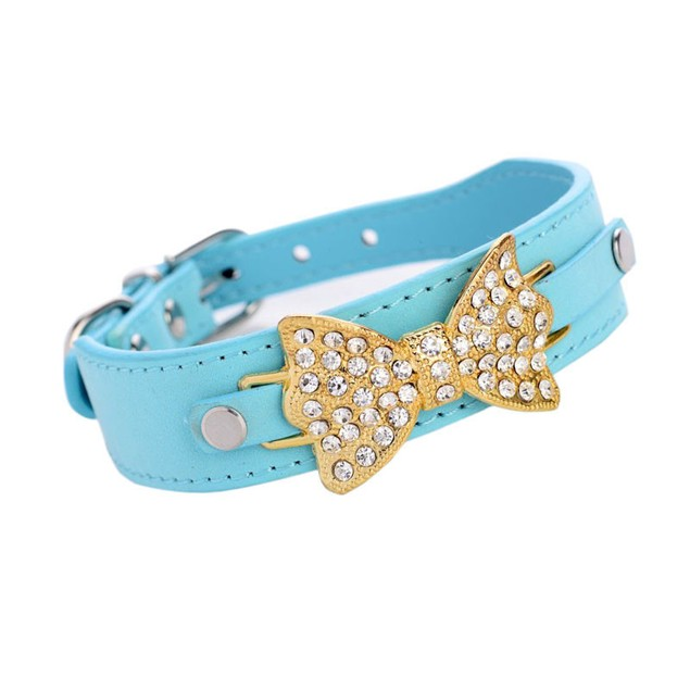 Pet Dog Puppy Cat Collar Bling Crystal With Leather Bow Necklace