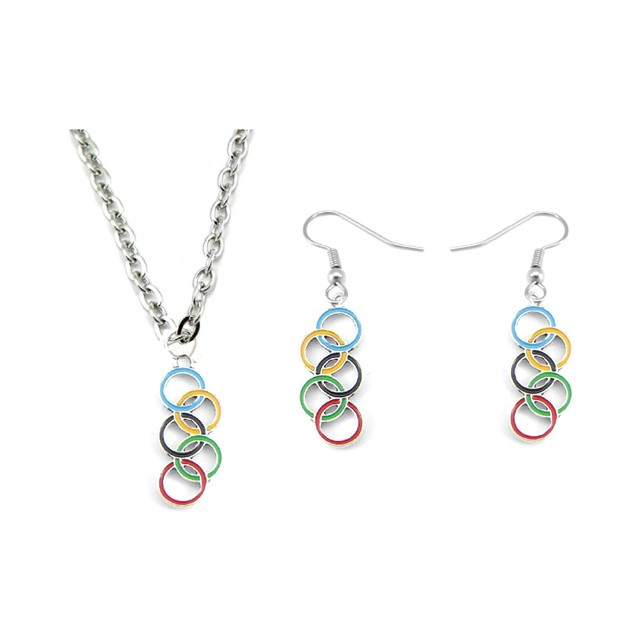 Colored Enameled Olympic Rings Charm Earrings and Necklace Jewelry