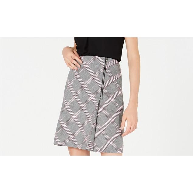 Bar III Women's Zipper-Detail Plaid Skirt Black Size 12