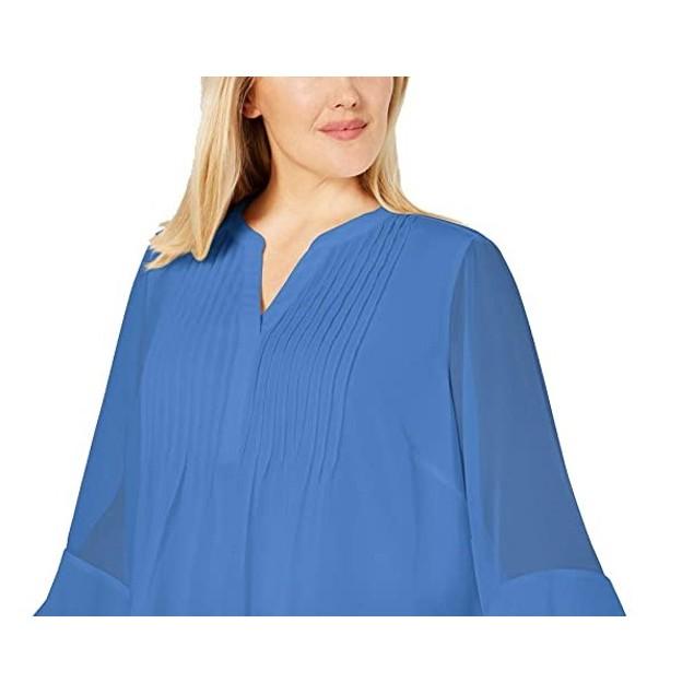 Charter Club Women's Double Ruffle Solid Pintuck Top Blue Size Medium