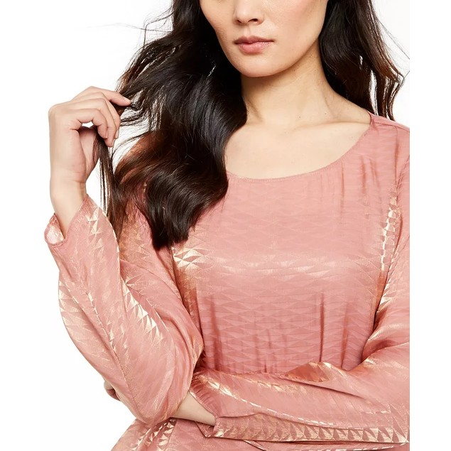 Alfani Women's Metallic Bubble Top Pink Size Large