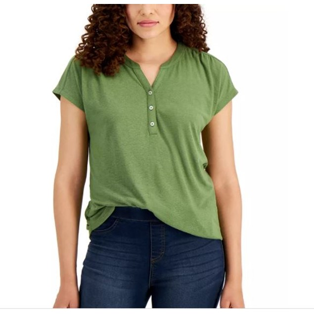 Style & Co Women's Dolman Sleeve Henley Linen Blend Top Green Size X-Large