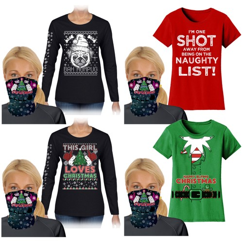 Women's Funny Christmas T-Shirts and Long Sleeve with Gaiter